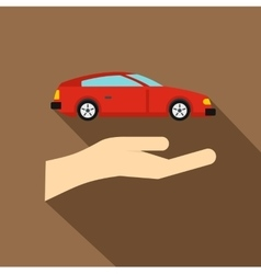 Hand and car icon flat style vector