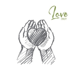Hand drawn heart in human palms with lettering vector image vector image