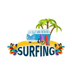 Hippie surfing poster with bus vector