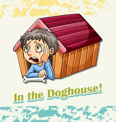 Idiom in the doghouse vector