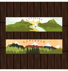 Kayaking holidays forest landscape with mountain vector