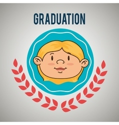 kid on graduation emblem isolated icon design vector image