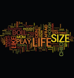 Life size doll text background word cloud concept vector