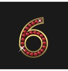 Number six symbol vector