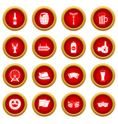 Oktoberfest icon red circle set vector