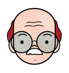 Old man face with glasses and mustache vector