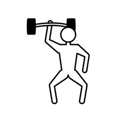 Outline man weight lifting barbell vector