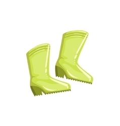 Pair Of Green Rubber Boots vector image