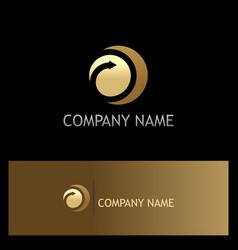 round arrow gold company logo vector image