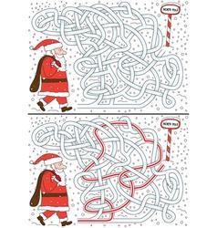 Santa claus maze vector