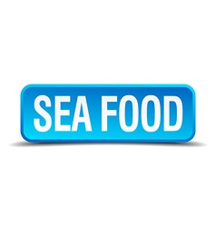 sea food blue 3d realistic square isolated button vector image vector image