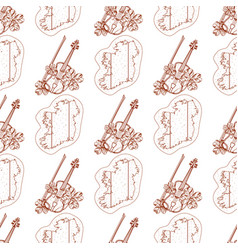 Seamless pattern with violin and outline map of vector
