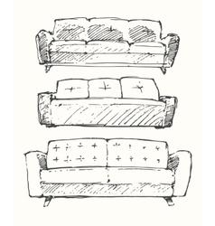 Set of hand drawn sofa vector image