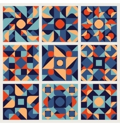 Set of Nine Seamless Blue Orange White vector image