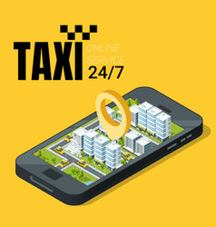 taxi service concept smartphone with isometric vector image vector image