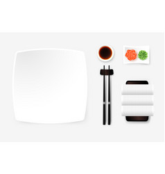 Top view of white empty sushi plate with saucer vector