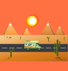 Traveler truck driving on the road to desert and vector