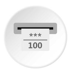 Winning cheque in casino icon circle vector