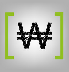Won sign black scribble icon in citron vector
