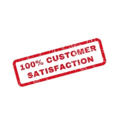 100 percent customer satisfaction text rubber vector