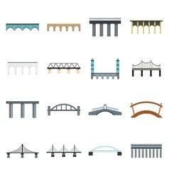 Bridge icons set flat style vector