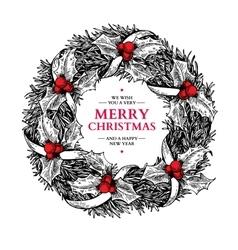 Christmas wreath hand drawn vector image