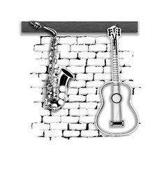 Musical instruments saxophone and guitar on the vector