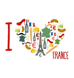 I love france traditional french national set of vector