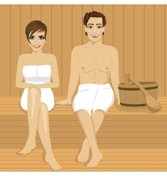 Happy couple relaxing together in wooden sauna vector