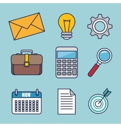 Business set flat icons vector