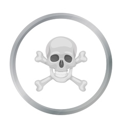 Pirate skull and crossbones icon in cartoon style vector