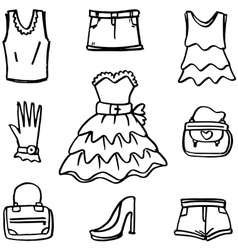 Doodle of women clothes and accessories vector image