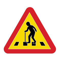 Traffic sign warning pedestrian elderly vector