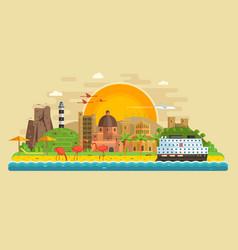 Summer travel island landscape vector