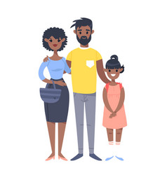 Young couple with daughter hand drawn black woman vector