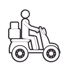 Silhouette motorcycle messenger with packages vector