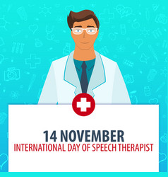 14 november international day of speech therapist vector