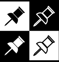 Pin push sign  black and white icons and vector