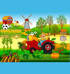 Tractor driver on a farm vector