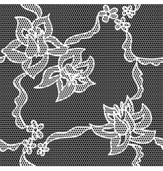 Black lace fabric seamless pattern vector