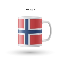 Norway flag souvenir mug on white background vector