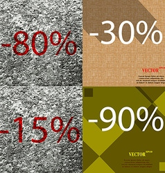 30 15 90 icon set of percent discount on abstract vector