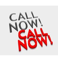3d call now text design vector