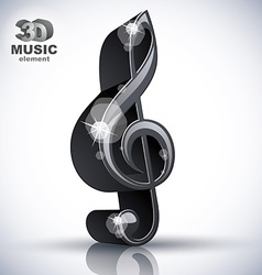 Treble clef 3d black music design element vector