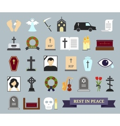 Death ritual and burial colored icons vector
