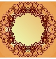 Ornamental round lace frame for text blank banner vector