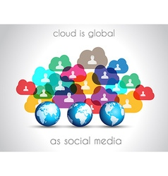 Modern cloud globals infographic concept vector