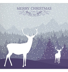 Merry christmas winter card holiday deer vector