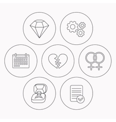 Broken heart diamond and engagement ring icons vector