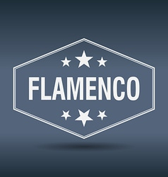 Flamenco hexagonal white vintage retro style label vector